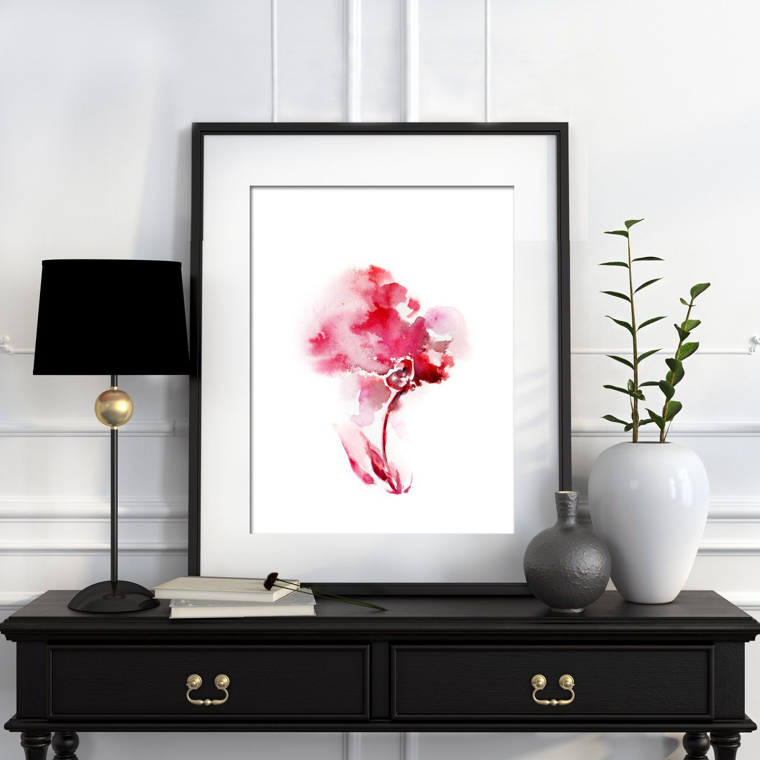 pink flower watercolor print abstract minimalist wall art floral pink flower minimalist watercolor painting art print modern home decor abstract wall art