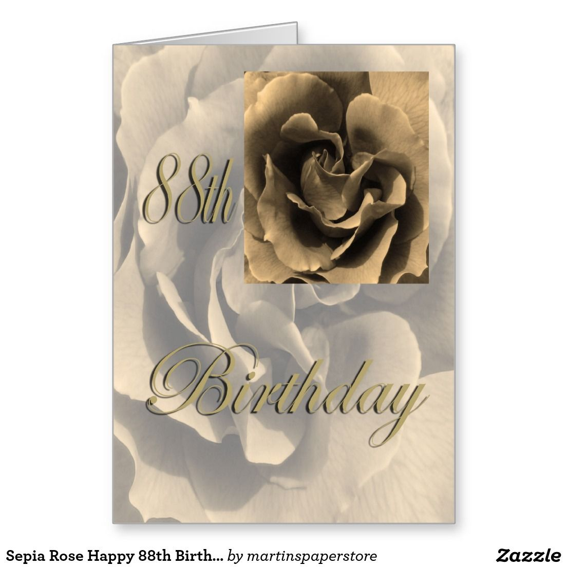 Sepia Rose Happy 88th Birthday Greeting Card