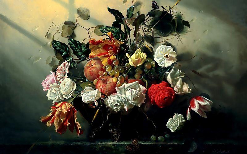 натюрморт | Цветочные картины, Цветочное искусство