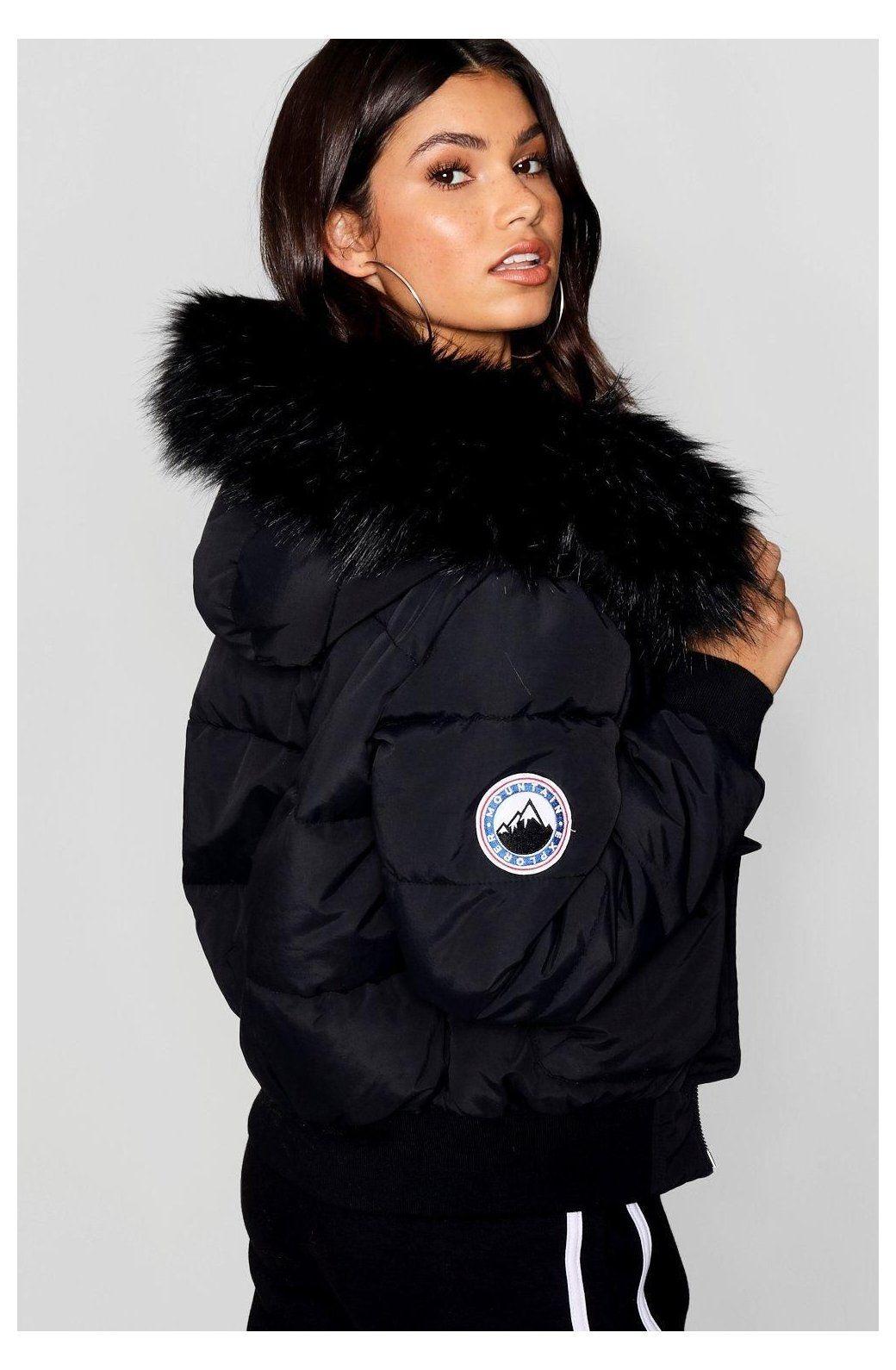 Black Faux Fur Hood Crop Puffer Boohoo Puffer Jacket With Fur Hood Pufferjacketwithfurhood Womens Black Faux Fur Hood Crop Puffe Ropa De Moda Ropa Moda [ 1590 x 1040 Pixel ]