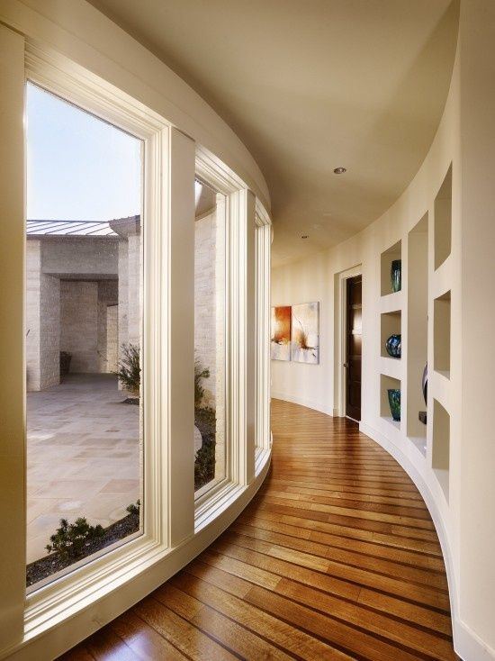 Curved hallway flooring from decoist architecture and interior design decorating hill country homes also ideas that sparkle with modern style rh in pinterest