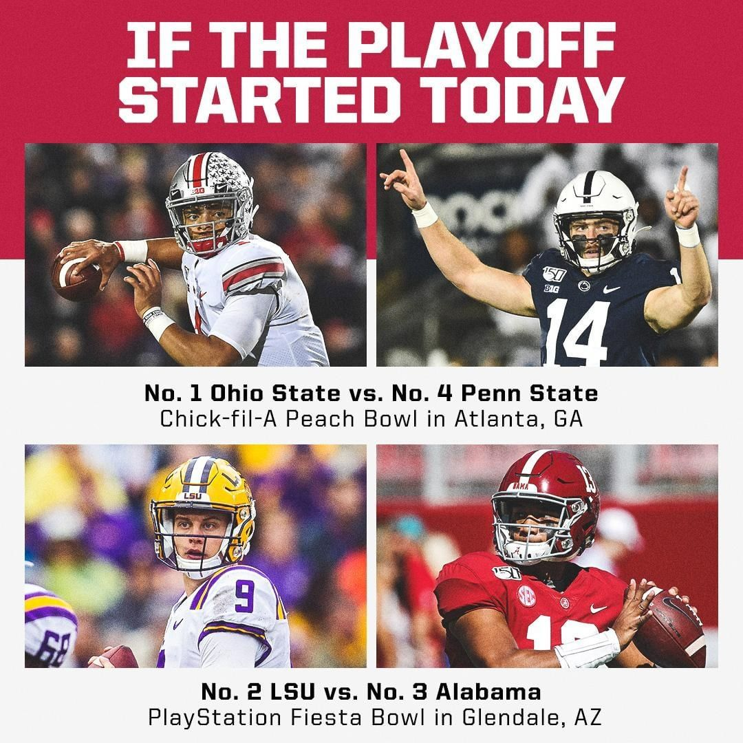 Espn College Football On Instagram If The Playoff Started Today Who S Your Champion Espn College Football Nfl Fantasy Football Ncaa College Football