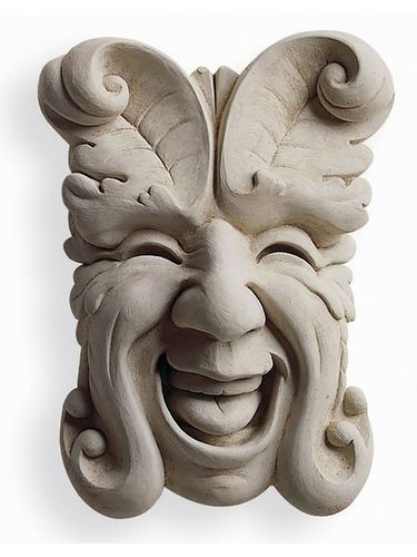 Indoor/Outdoor Cast Stone Wall Plaque: Carruth Studio: Laughing Garden Face