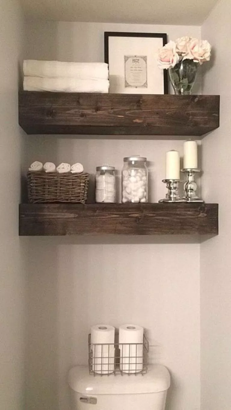 Bathroom Decor 230 | Bathroom shelf decor, Small bathroom ...