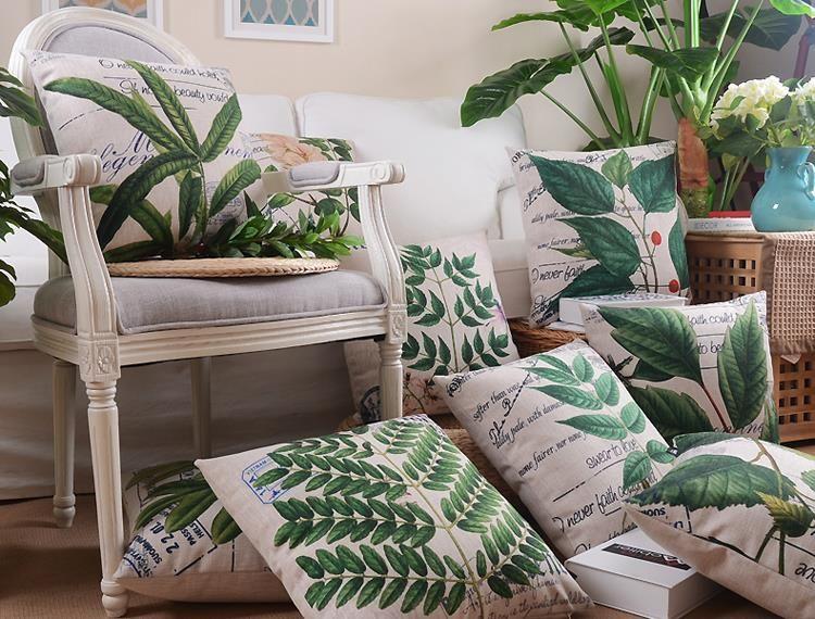 Goedkope Hot thuis decoratieve groene bladeren kussen s