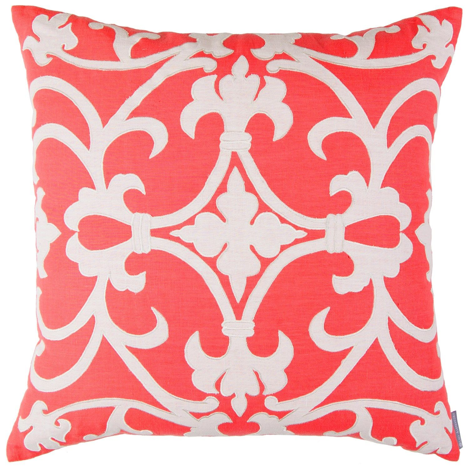 pin olivia pillows alessandra lili decorative coral white linen pillow