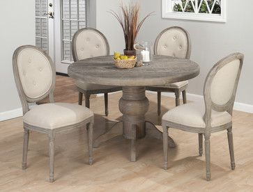 Jofran Burnt Grey 5 Piece 48 Inch Round Dining Room Set W/Oval Back Side  Chair   Dining Tables   EFurniture Mart