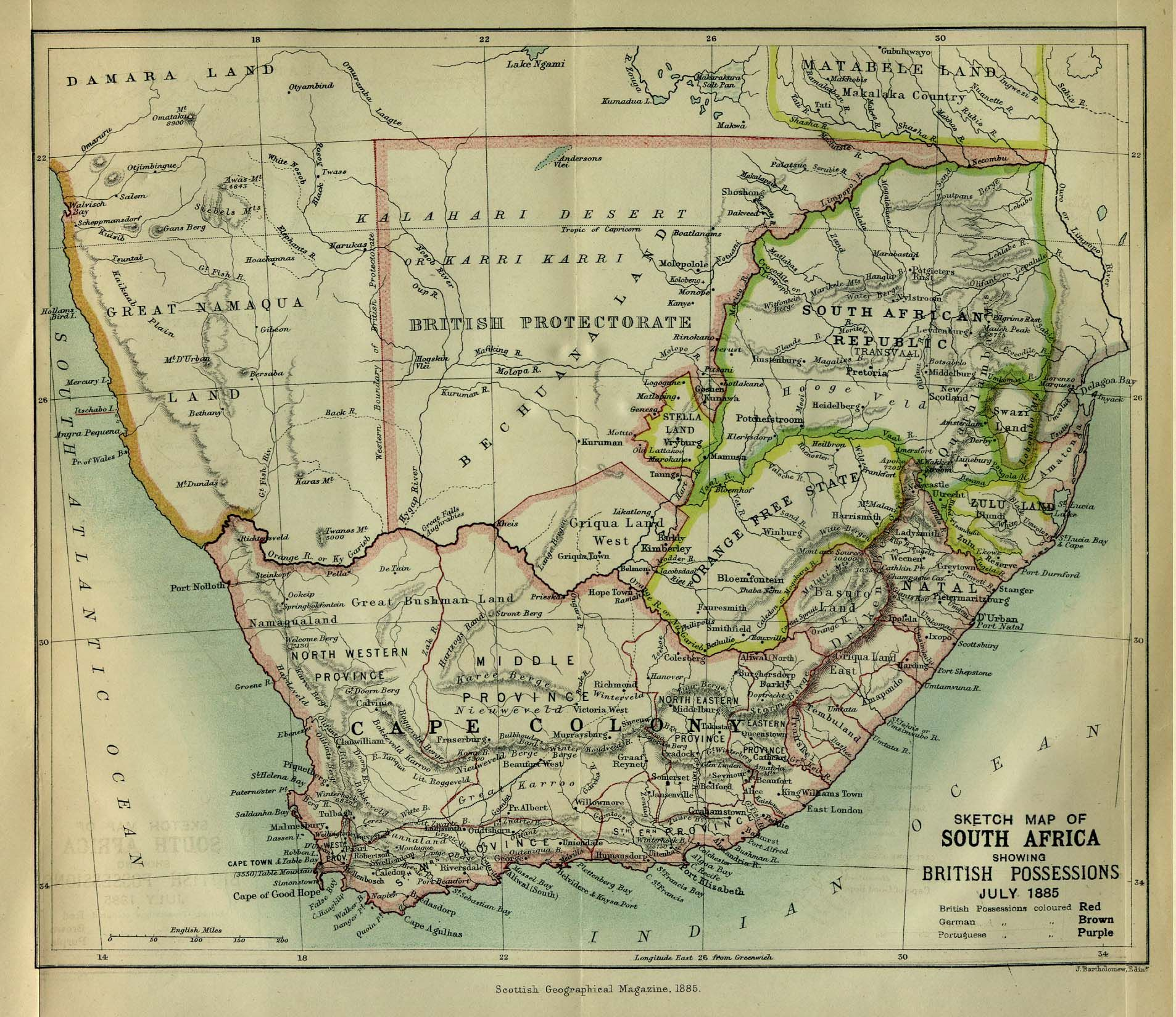 South Africa, Scottish Geographical Magazine, 1885. | Maps | South