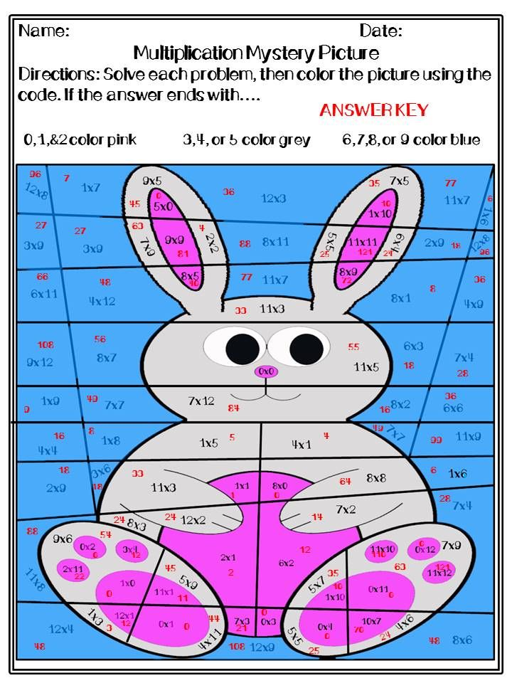 Easter Multiplication and Division Mystery Pictures   Multiplication ...