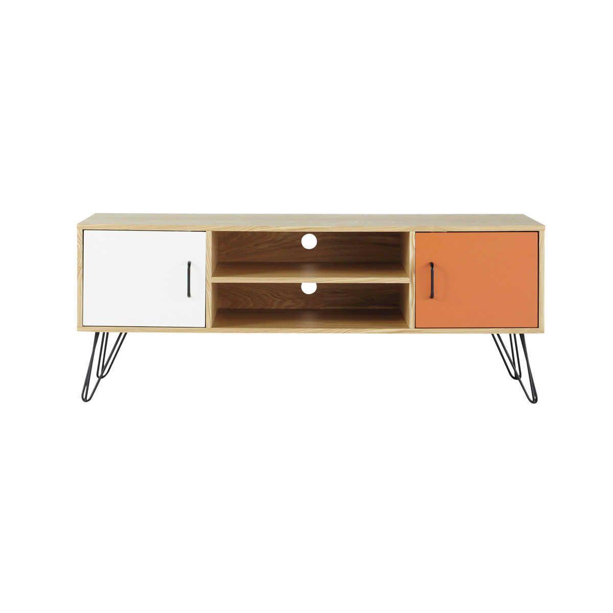 2-türiges TV-Lowboard im Vintage-Stil, weiß/orange | Wohnzimmer ...