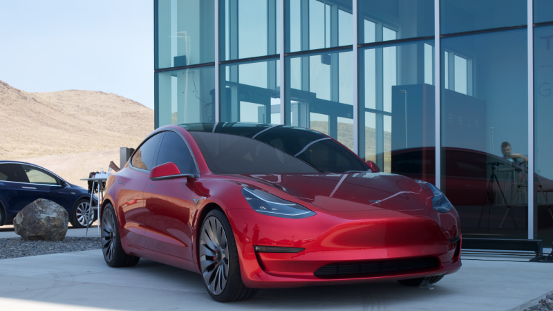 The Red Tesla Model 3 At Gigafactory Grand Opening Isn T A Real Car
