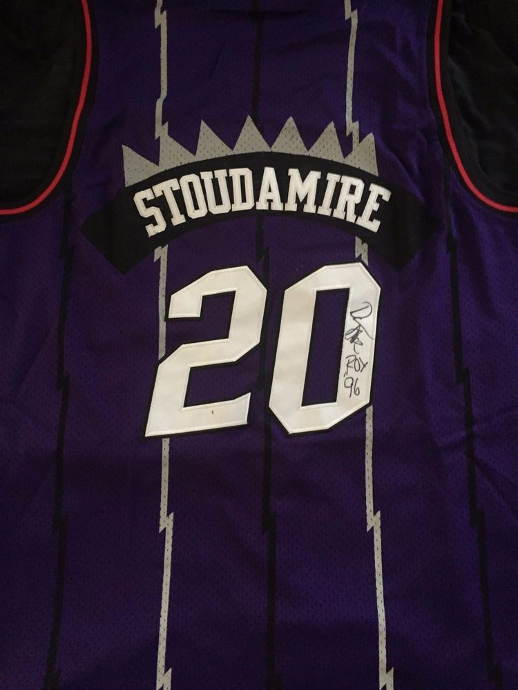 size 40 ce5b2 95c60 DAMON STOUDAMIRE Autograph Signed Toronto Raptors Throwback ...