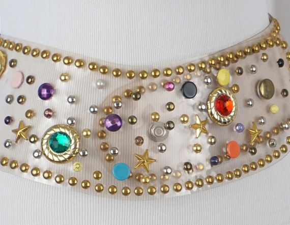 Vintage Wide Belt Clear Plastic with Beading and Rhinestones