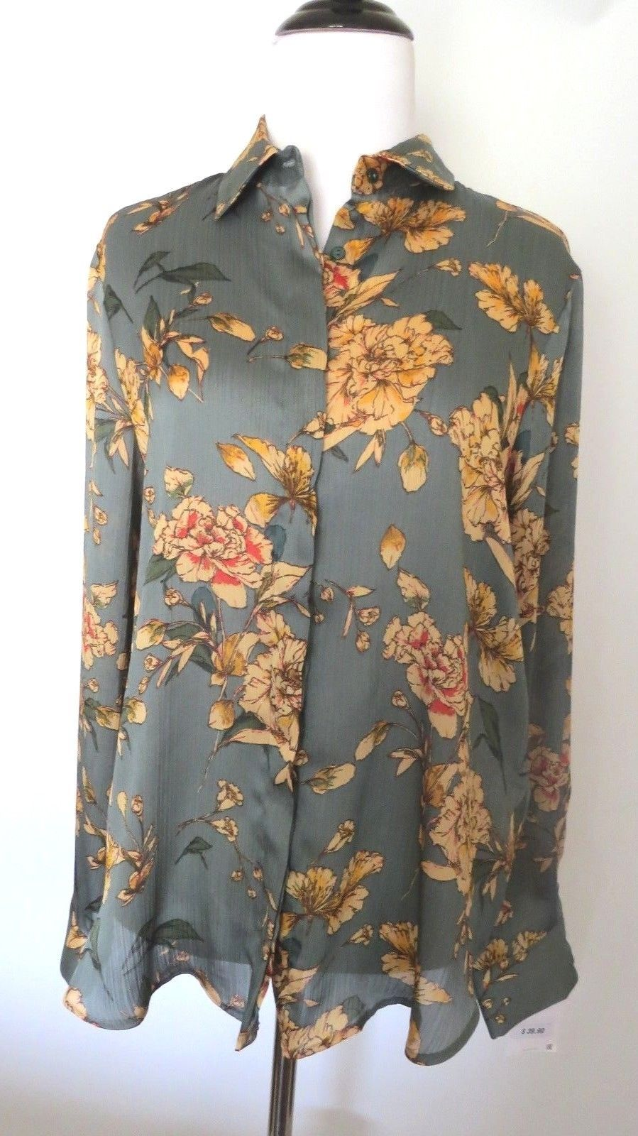 43b006c4 30.00 ❤ Zara Green Color Floral Print Long Sleeve Blouse Size M ❤ #floral