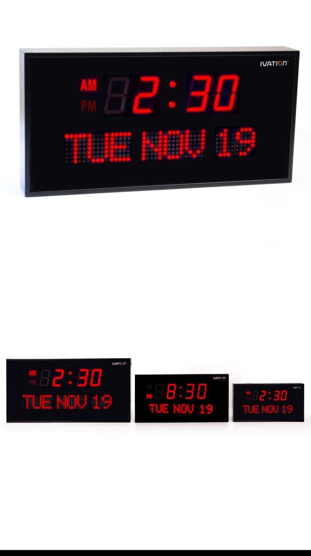 Alarm Clocks 79643 Electronic Big Digital Led Wall Clock Calendar