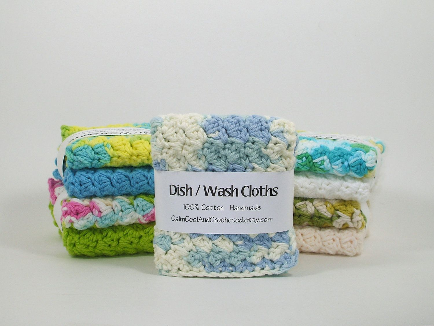 Hand-Crocheted Dish Cloths 100/% Cotton Lot of 6