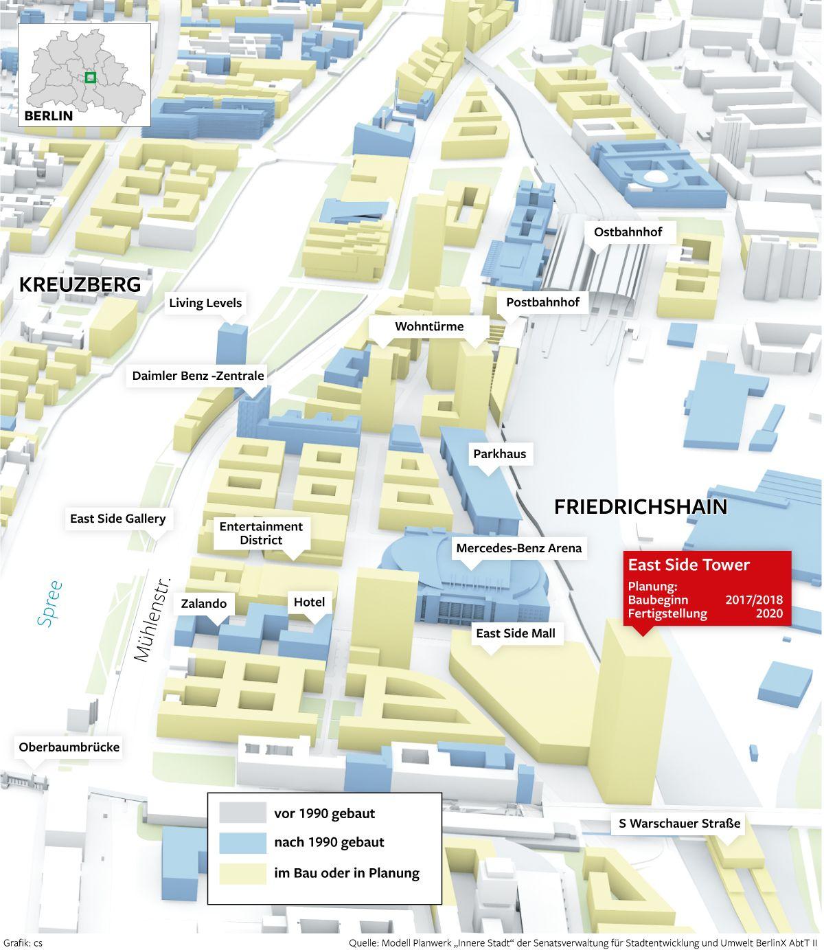 bauvorhaben rings um die mercedes benz arena in berlin mit dem east side tower entsteht neben. Black Bedroom Furniture Sets. Home Design Ideas
