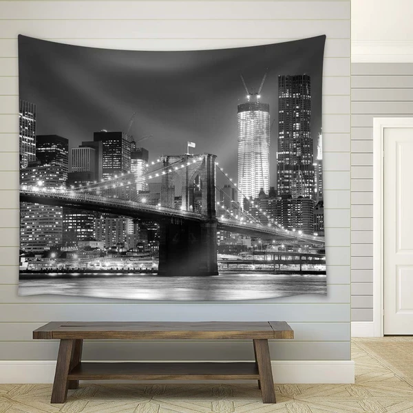 New York City Brooklyn Bridge In Black And White Wall Tapestry Avail Wall In 2020 Black And White Wall Tapestry White Walls Home Decor