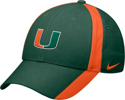 huge discount bbfc4 5121c Miami Hurricanes Green Nike Football Sideline Coaches Dri-FIT Adjustable  Strapback Hat