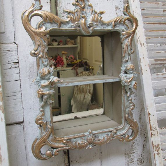 Ornate Wall Shelf French Blue Distressed Shabby Chic Adorned With Cherubs Mirrored Back Decor Anita