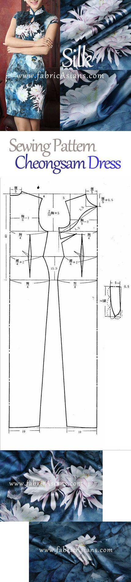 Free cheongsam pattern. Lotus printed silk   Sewing/Costura ...