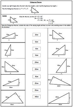 Pythagorean Theorem Worksheet การค ณ