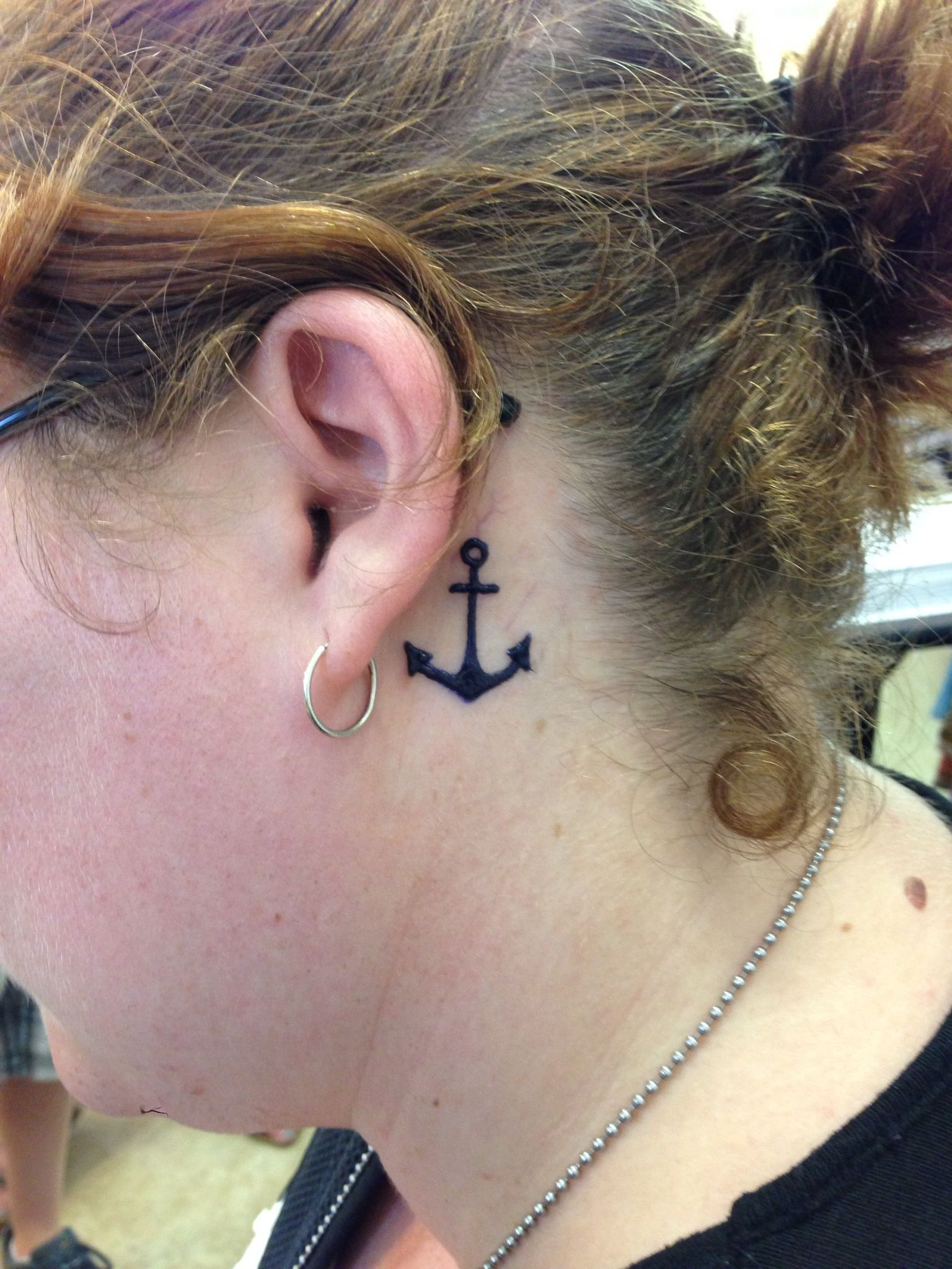Anchor Henna Tattoo: Small Anchor On The Neck Henna Tattoo