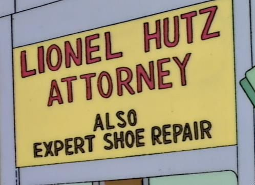 Lionel hutz 742 evergreen terrace usa pinterest for Lionel hutz business card