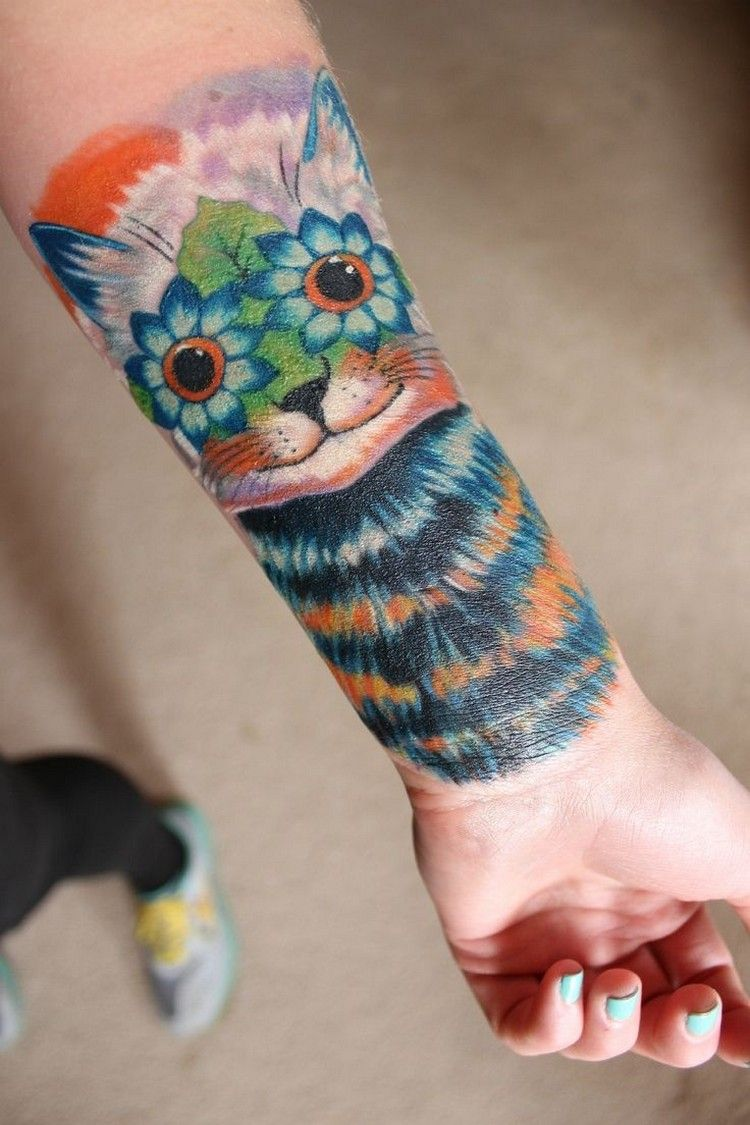 Half Sleeve Tattoo Mit Katzenmotiv Bunt Unterarm Tattoo Feine