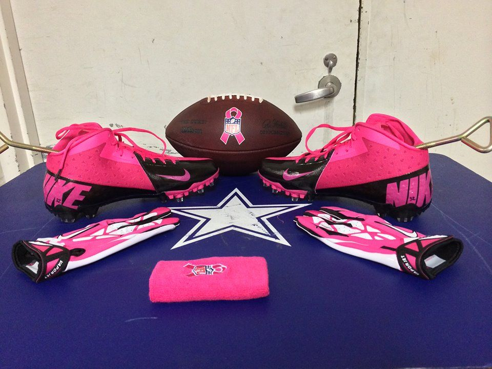 9182d51a9 Some of the Cowboys will break out the pink Nike Football cleats and gear  this Sunday versus the Broncos in honor of Breast Cancer Awareness Month.