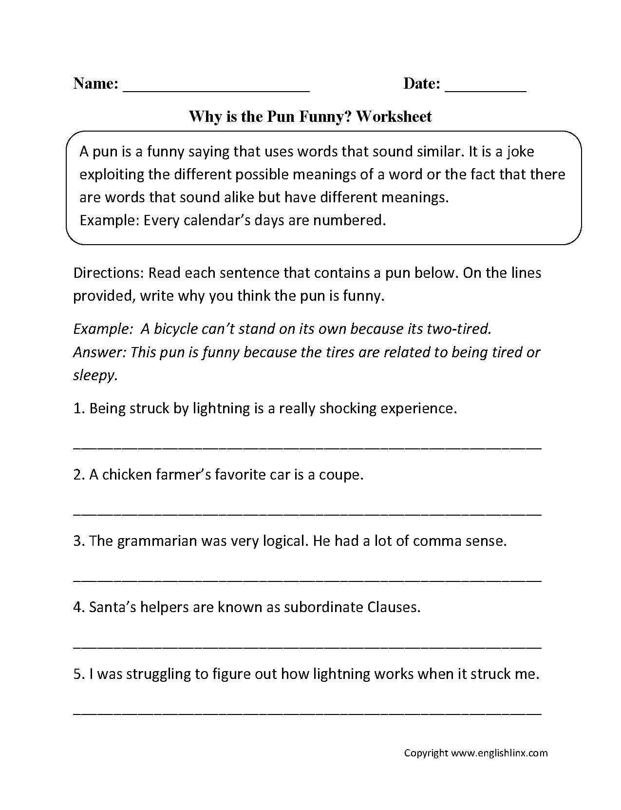 Element Puns Worksheet