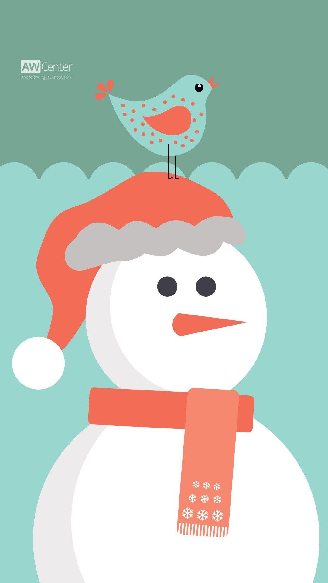 Cute Cartoon Christmas Santa Snowman Iphone 6 Plus Wallpaper Bird