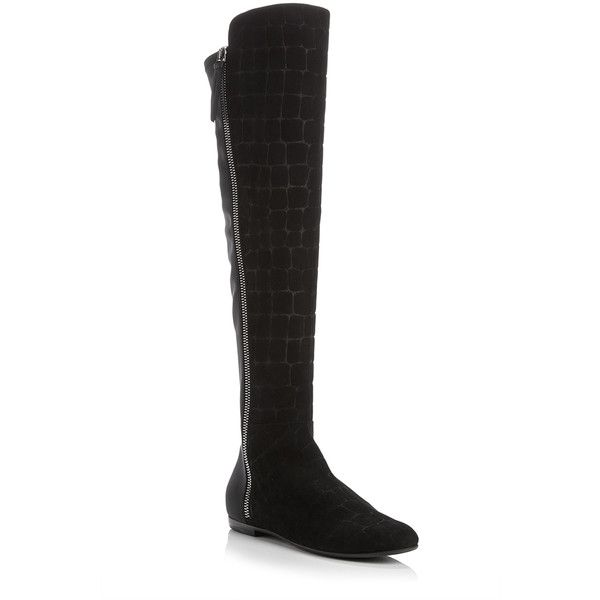 Giuseppe Zanotti Calf Leather Croc Embossed Knee High Boots ($557) ❤ liked on Polyvore featuring shoes, boots, shiny boots, crocodile boots, knee length boots, crocs boots and knee boots