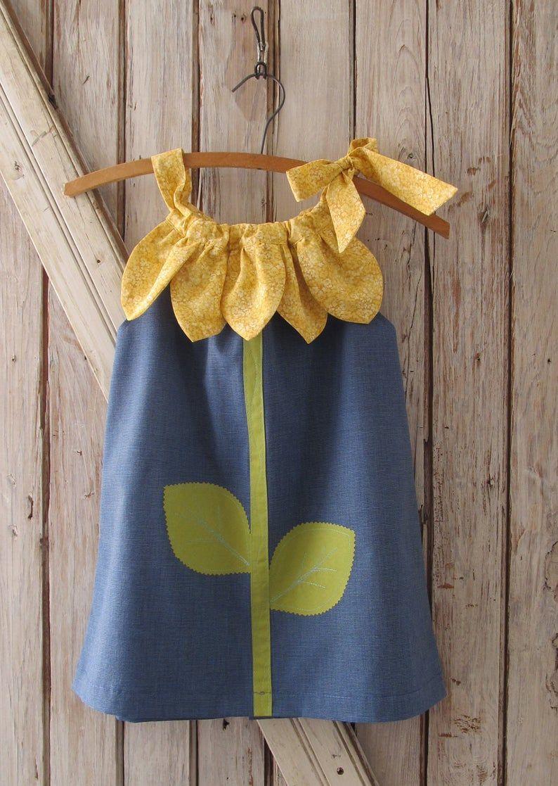 Sunny Flower Pillowcase Dress Pdf Pattern Tutorial Easy Sew Sizes 12m Thru 10 Included Patrons De Couture Des Filles Coudre Simple Et Couture Pour Bebe