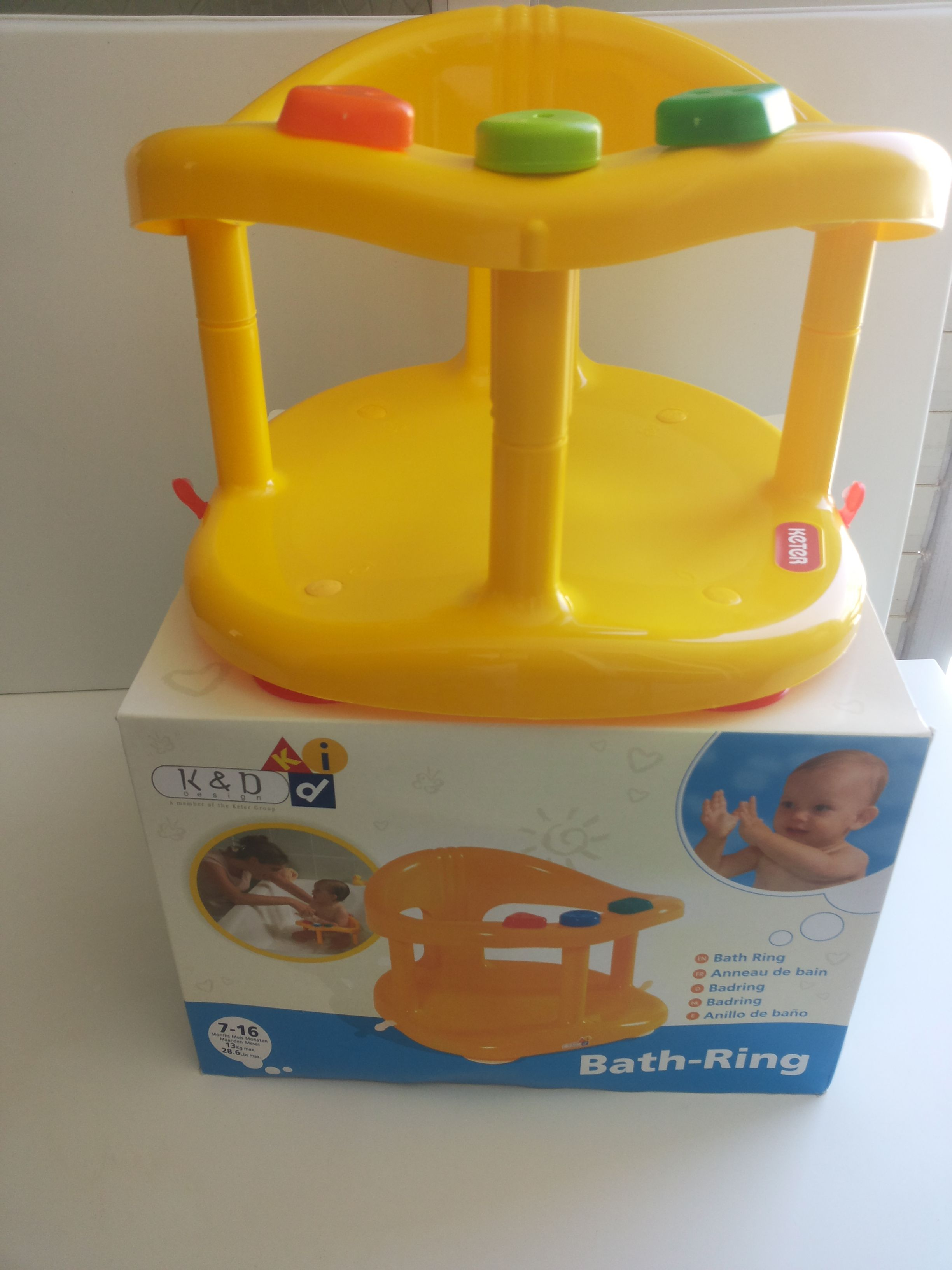 Baby Bath Seat Yellow Tub Ring Keter Bathing Support Infant ...