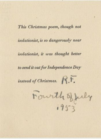 Robert frost note included with robert frosts does no one but me seasons greetings from robert frost the devils tale m4hsunfo