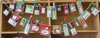 11/10/2010; Heartland Paper blog; Christmas countdown banner; poto shows Imaginisce products, however, could easy be made with the Cricut