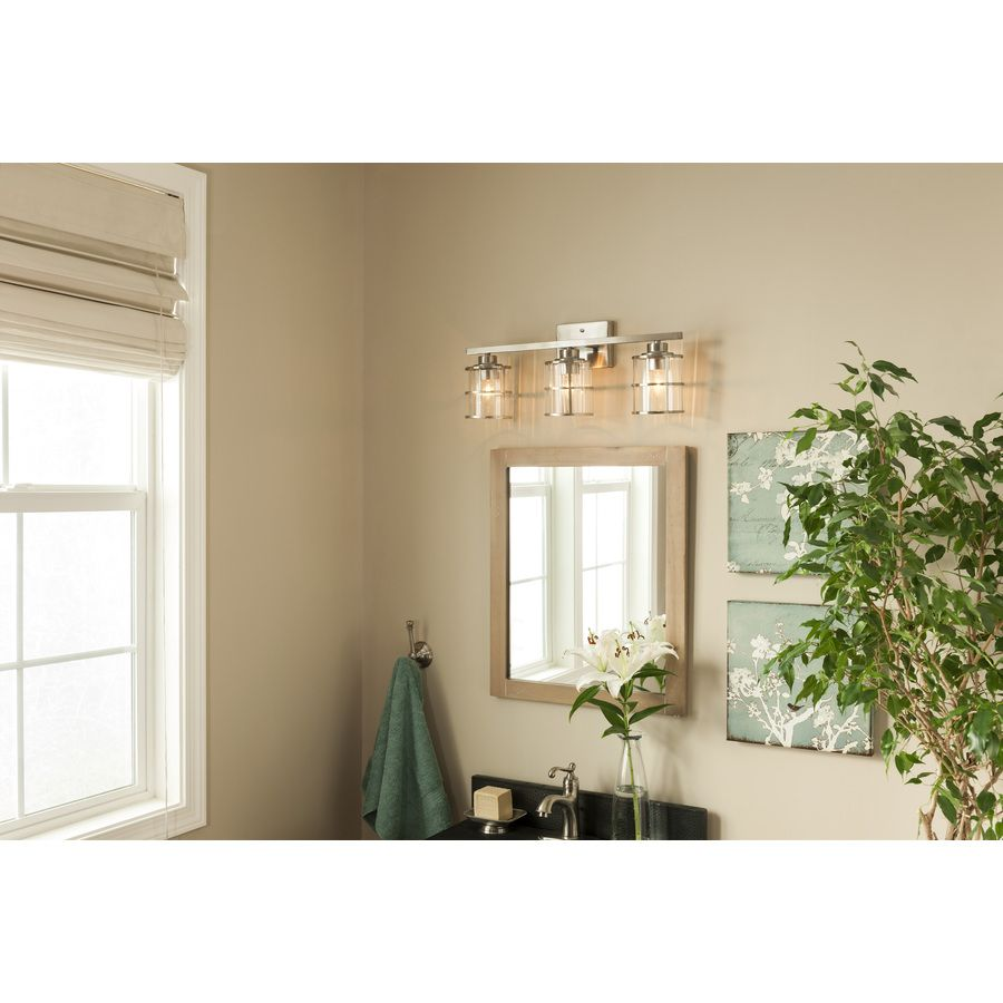 Shop allen roth 3 light brushed nickel bathroom vanity light at shop allen roth 3 light brushed nickel bathroom vanity light at lowes aloadofball Image collections