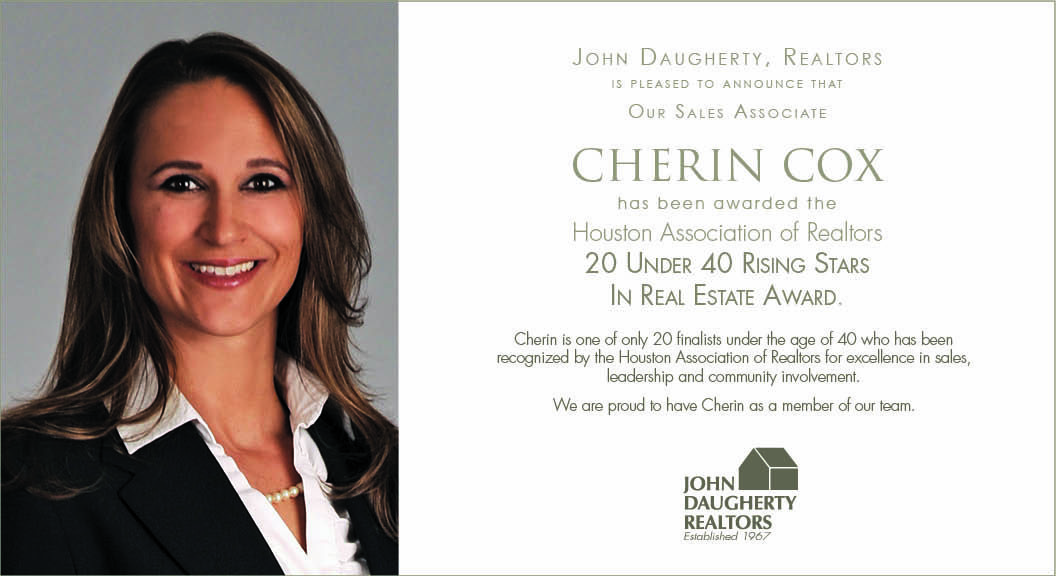 Cherin cox receives 20 under 40 rising star in real estate for Cox houston