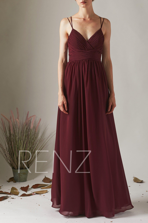 Bridesmaid Dress Burgundy/ Dusty Blue/ Dusty Rose Chiffon Formal