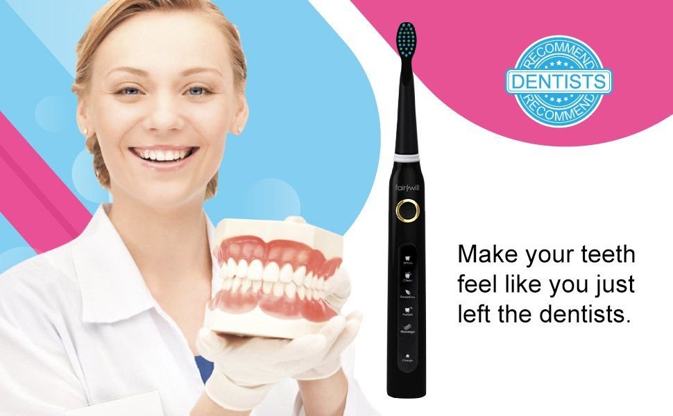 Amazon Com Electric Toothbrush Clean As Dentist Rechargeable Sonic Toothbrush With Smart Timer 4 Hours Ch Electric Toothbrush Brushing Teeth Dentist