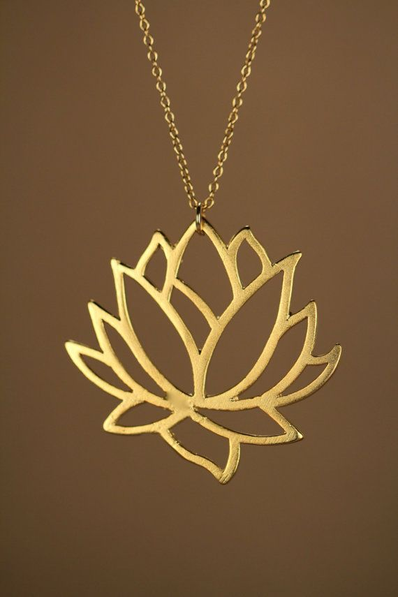 Lotus necklace gold lotus flower necklace blooming flower lotus necklace gold lotus flower necklace blooming by buburuby aloadofball Gallery