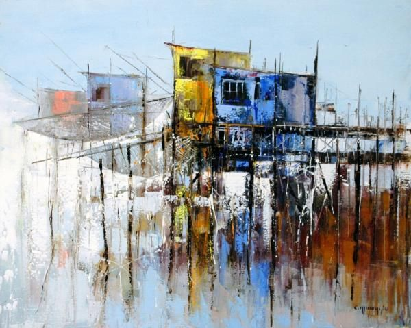 Peinture Celestin Messaggio Les Carrelets Peinture Abstraite