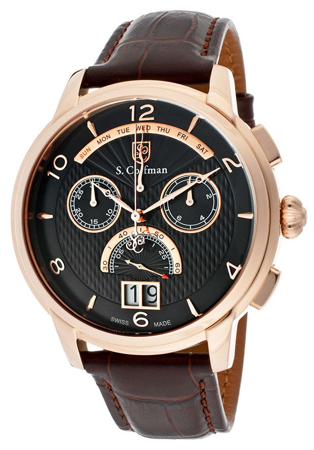 e7ca302cdb4 S. Coifman SC0181 Men s Watch Swiss Made Chronograph With Dark Brown Italian  Leather Band