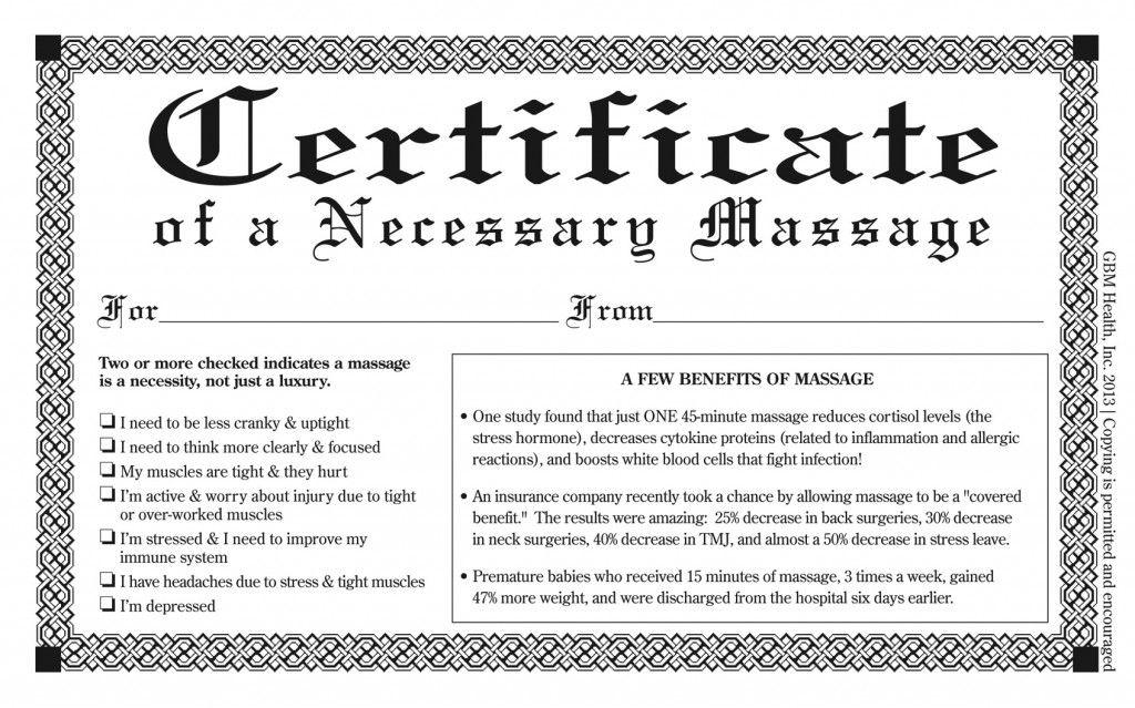 Necessary Massage Certificate  Spa Product    Certificate