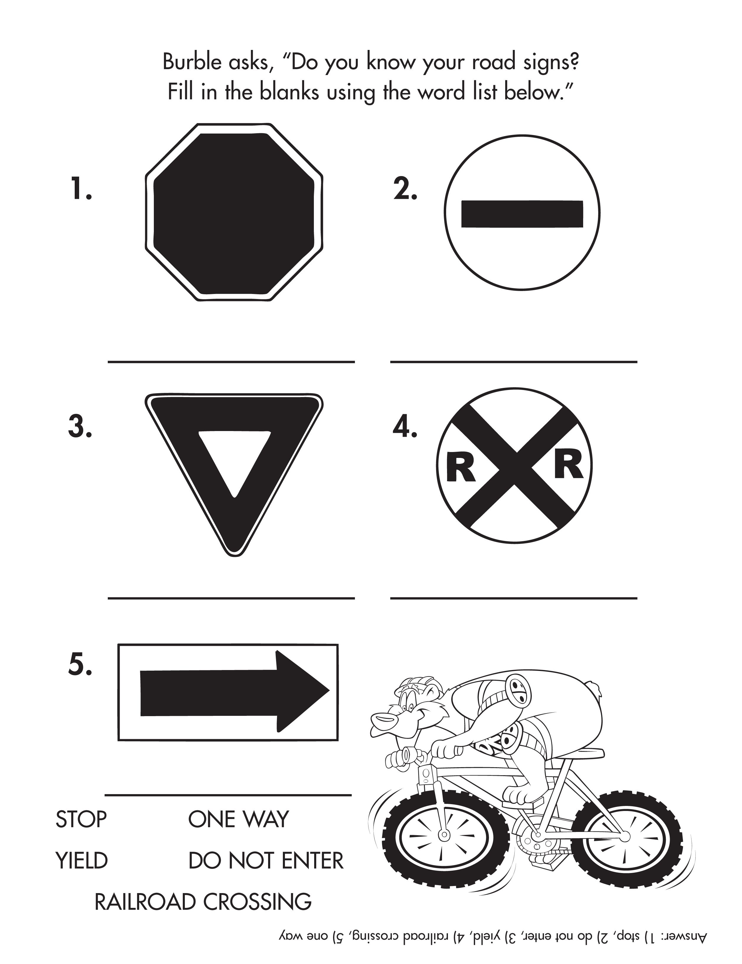 Know Your Street Signs Activitysheet Printable Free