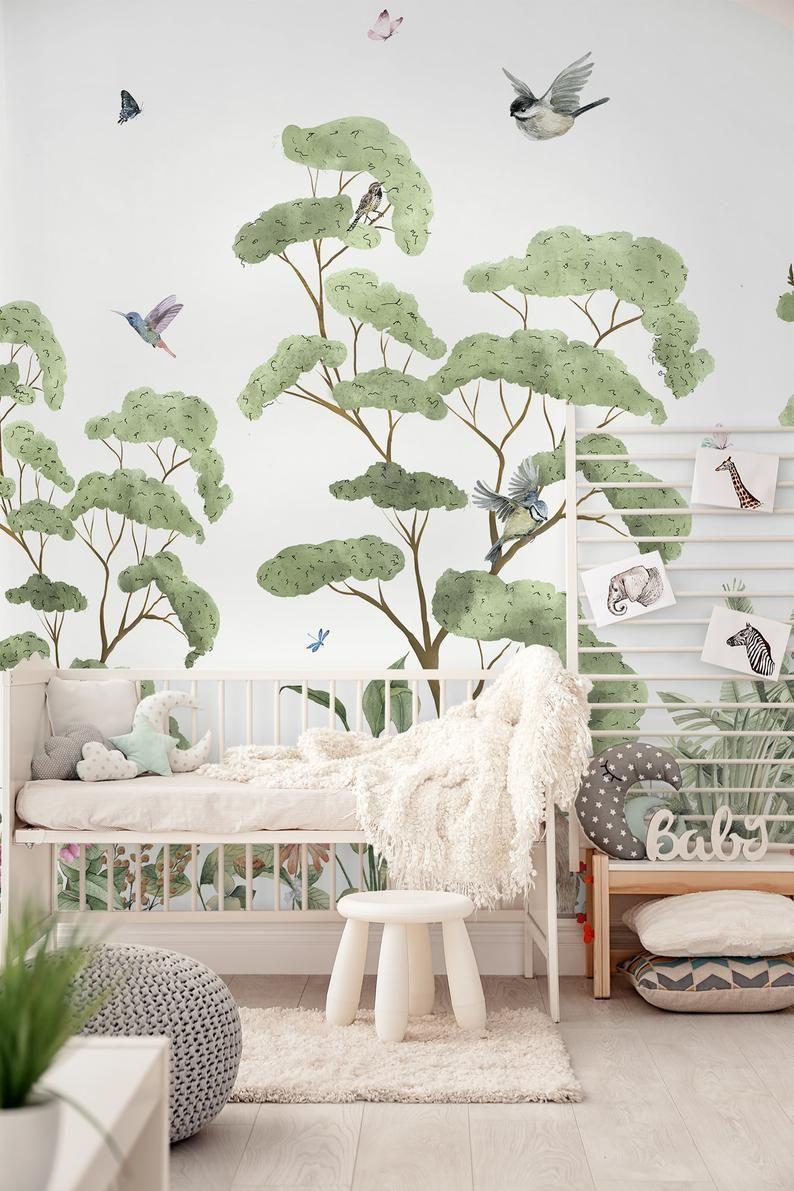 Nursery Wallpaper Self Adhesive Peel And Stick Kids Tropical Etsy In 2020 Nursery Wallpaper Forest Wall Mural Kids Room Murals