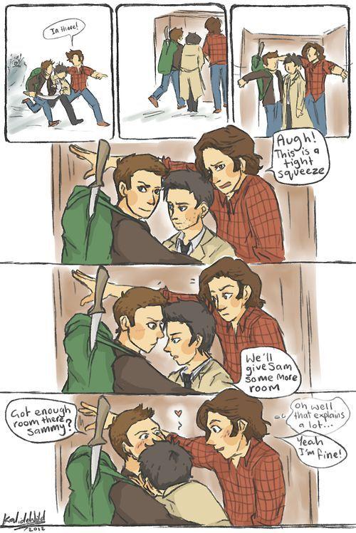 Sam: allí / Sam: Esto es un poco apretado. Cas: Daremos mas espacio a Sam. / (Sam: Bien, eso explica mucho). Dean: Conseguiste bastante espacio Sammy?. Sam: Si, Estoy bien. /// Destiel *0*