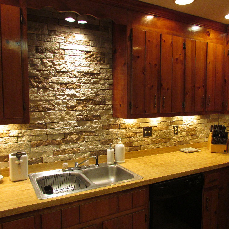 Faux stone wall airstone stone backsplash kitchen