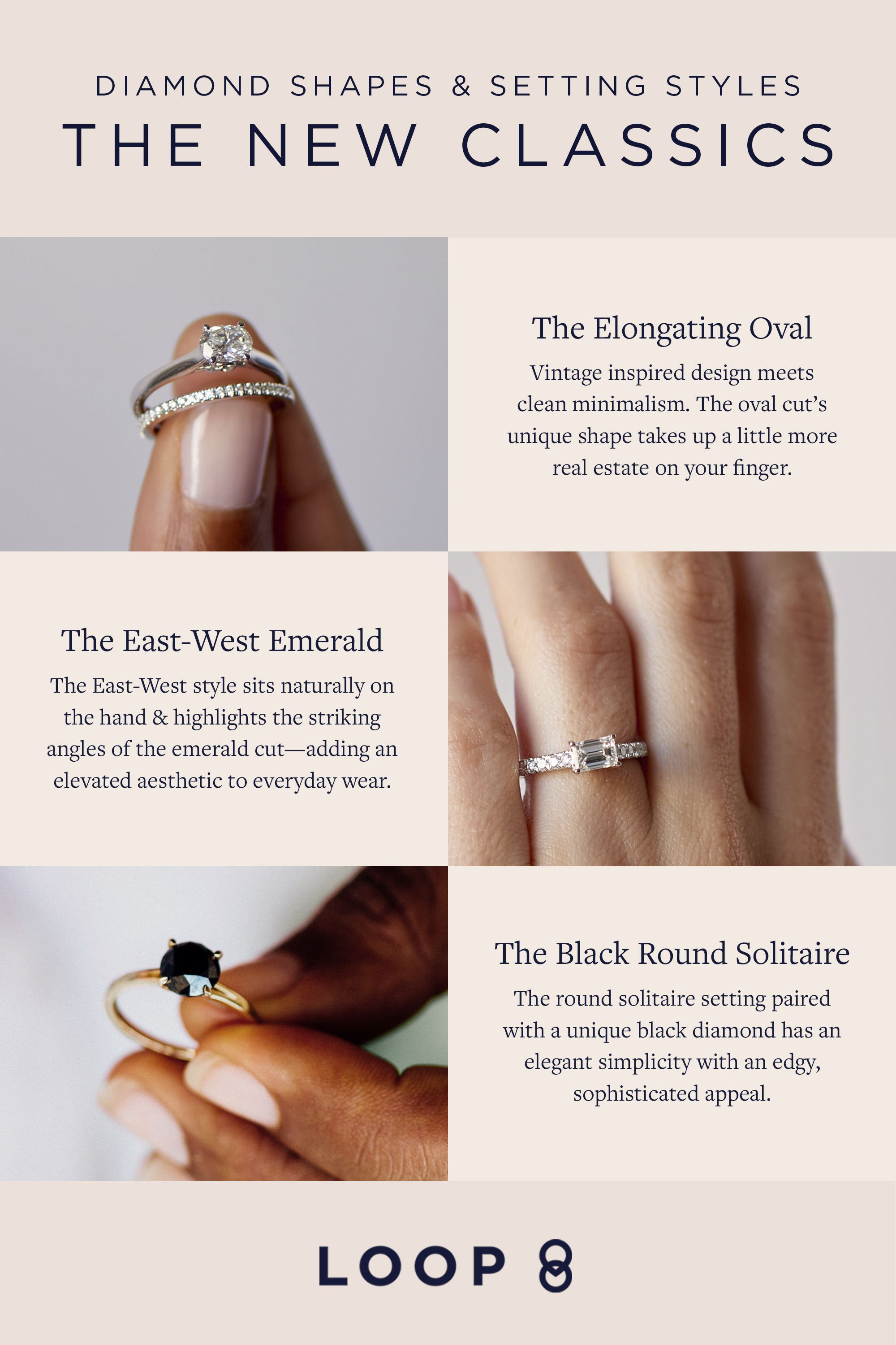 Find The Diamond Shape And Engagement Ring Setting Style For Your Unique Story Loop Makes Rings For Modern Re Engagement Engagement Ring Settings Lily Wedding